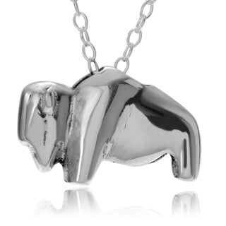Journee Collection Sterling Silver Bison Pendant