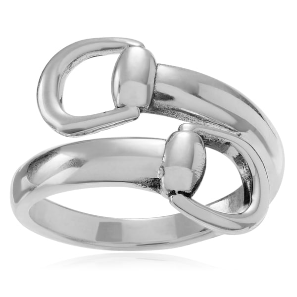 Journee Collection Sterling Silver Stirrup Wrap Ring