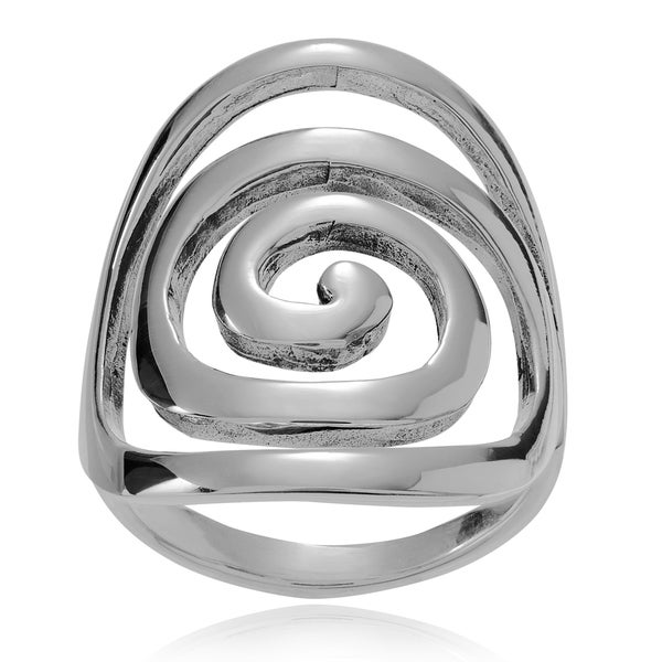Journee Collection Sterling Silver Large Spiral Ring