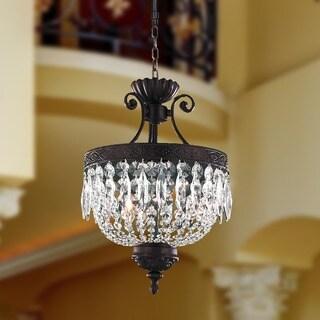 "Regal Estate Collection 3 Light Flemish Brass Finish Crystal Chandelier 12"" x 18"""