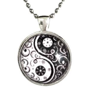 Atkinson Creations Black and White Yin Yang Glass Dome Necklace