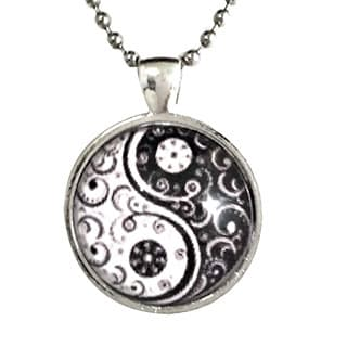 Atkinson Creations Black and White 'Yin and Yang' Glass Dome Pendant Necklace