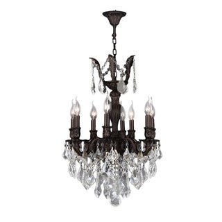"""French Imperial Collection 8 Light Flemish Brass Finish and Clear Crystal Chandelier 19"""" x 25"""""""