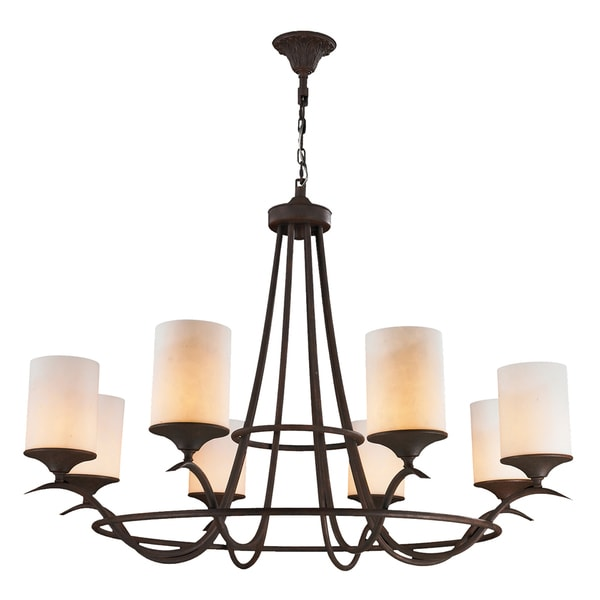 Rustic Elegance 8 Light Flemish Brass Finish with Faux Alabaster Pillar Candle Chandelier 48""