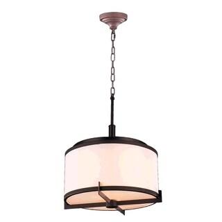 Contemporary 5-light LED Dark Bronze Finish with 12-inch Bisque Linen Drum Shade Chandelier