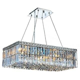 "Modern Art Deco Style 6 Light Chrome Finish Clear Crystal Rectangle Chandelier 24"" L"