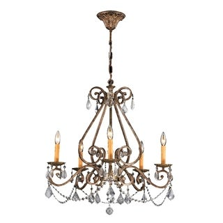 """Spanish Colonial 5 Light Flemish Brass Finish Crystal Candle Chandelier 26"""" x 27"""""""