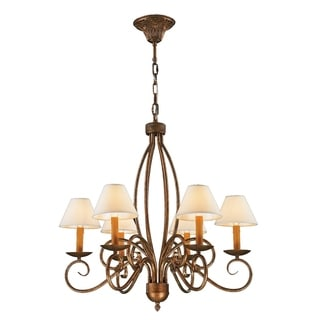 """Rustic Elegance 6 Lights Flemish Brass Finish with Natural Shades Chandelier 28"""" x 28"""""""