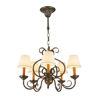 """Rustic Elegance 5 Light Antique Bronze Finish and Natural Shades Candle Chandelier 24"""" x 16"""""""