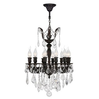 """French Imperial Collection 12 Light Flemish Brass Finish and Clear Crystal Chandelier 17"""" x 24"""""""