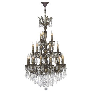 """French Imperial Collection 21 Light Antique Bronze Finish and Clear Crystal Chandelier 29"""" x 50"""" Three 3 Tier"""