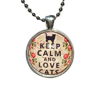 Atkinson Creations Keep Calm and Love Cats Glass Dome Necklace