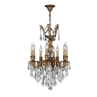 """French Imperial Collection 6 light French Gold Finish and Golden Teak Crystal Chandelier 19"""" x 25"""""""
