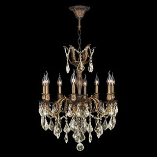 """French Imperial Collection 8 light Antique Bronze Finish and Golden Teak Crystal Chandelier 22"""" x 26"""""""