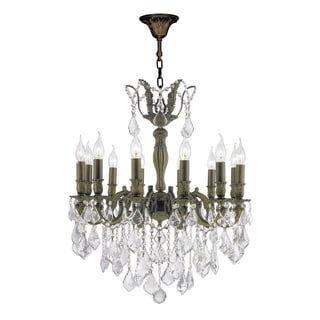 """French Imperial Collection 12 Light Antique Bronze Finish and Clear Crystal Chandelier 24"""" x 27"""""""