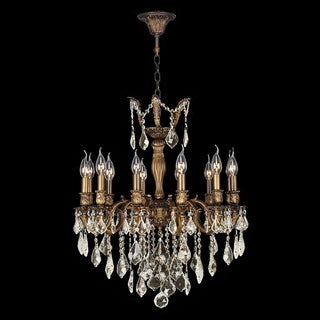 "French Imperial Collection 12 light Antique Bronze Finish and Golden Teak Crystal Chandelier 24"" x 27"""
