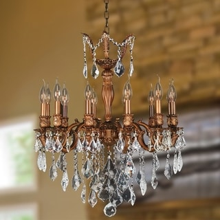 """French Imperial Collection 12 light French Gold Finish and Golden Teak Crystal Chandelier 24"""" x 27"""""""