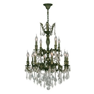 """French Imperial Collection 12 light Antique Bronze Finish and Clear Crystal Chandelier 24"""" x 34"""" Two 2 Tier"""