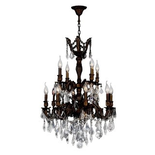 """French Imperial Collection 12 Light Flemish Brass Finish and Clear Crystal Chandelier 24"""" x 34"""" Two 2 Tier"""