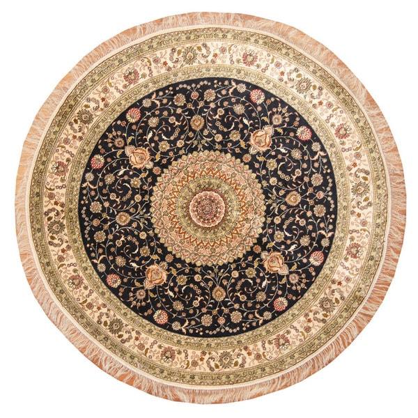 Herat Oriental Indo Hand-knotted Kashmiri Navy/ Ivory Silk Round Rug (6' x 6')