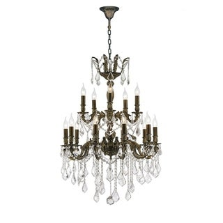 """French Imperial Collection 18 light Antique Bronze Finish and Clear Crystal Chandelier 24"""" x 35"""" Two 2 Tier"""