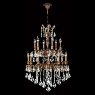 """French Imperial Collection 18 light French Gold Finish and Clear Crystal Chandelier 24"""" x 35"""" Two 2 Tier"""