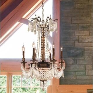 "Regal Estate Collection 9 Light Antique Bronze Finish and Golden Teak Crystal Chandelier 20"" x 29"""
