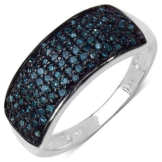Malaika Sterling Silver 1/2ct TDW Blue Diamond Ring