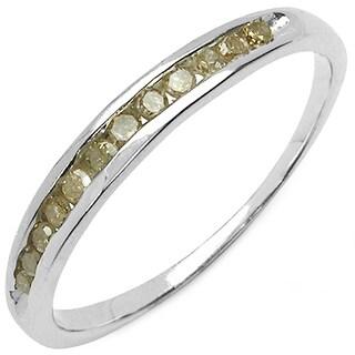 Malaika Sterling Silver 1/5ct TDW Champagne Diamond Ring