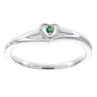 H Star 10k White Gold Emerald Heart Promise Ring
