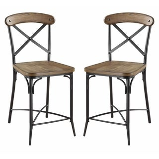 Olympia Cross-Back Design Two-tone Counter Height Dining Stool (Set of 2)