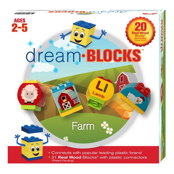 Dream Blocks 20-piece Wooden Farm Building Set