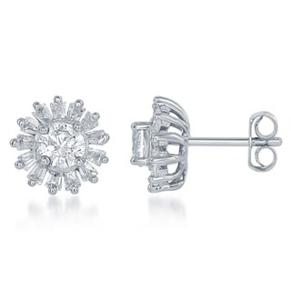 La Preciosa Sterling Silver Cubic Zirconia Halo Earrings