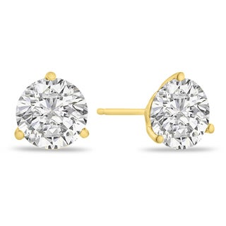 14K Yellow Gold Natural Diamond Martini Stud Earrings (I-J, I2)