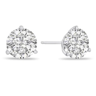 14K White Gold Natural Diamond Martini Stud Earrings (I-J, I2)