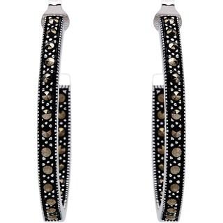 Silverplated Metal Marcasite Inside-out Hoop Earrings