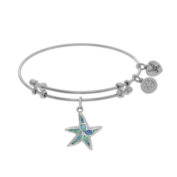 Angelica Created Opal Starfish Charm on White Cubic Zirconia
