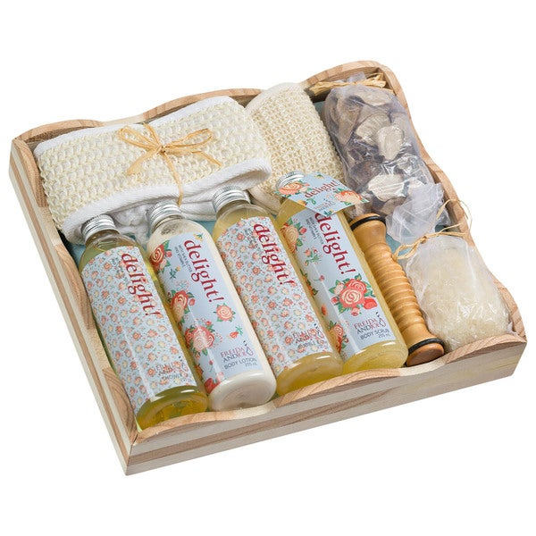 Delight Wood Spa Vintage Floral Gift Basket
