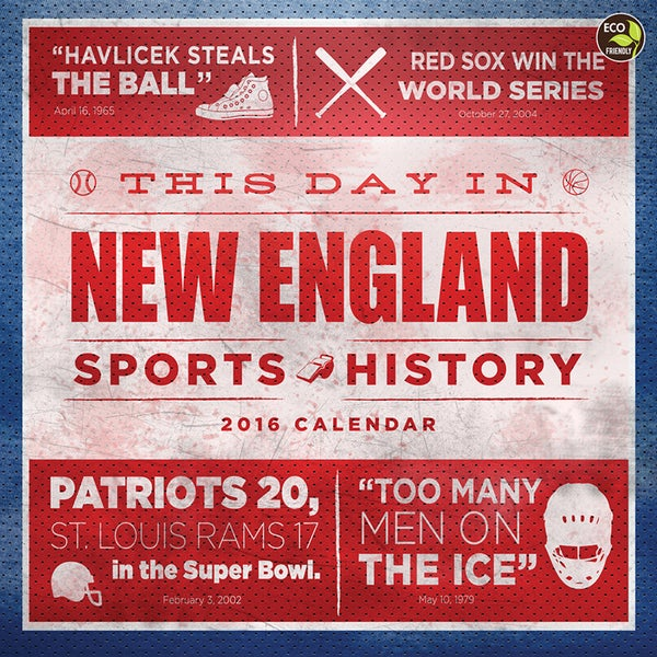 2016 This Day in New England Sports History Wall Calendar