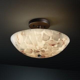 Justice Design Group Alabaster Rocks Ring 2-light Dark Bronze Semi-Flush