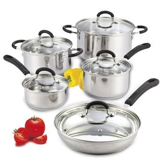 Cook N Home 10 Piece Stainless Steel Cookware Set with Encapsulated Bottom