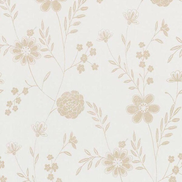 Beige Floral Silhouette Wallpaper