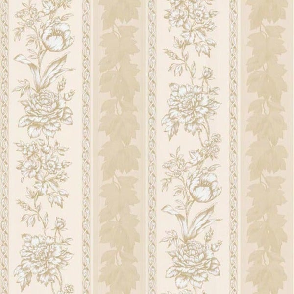Pale Yellow Floral Stripe Wallpaper