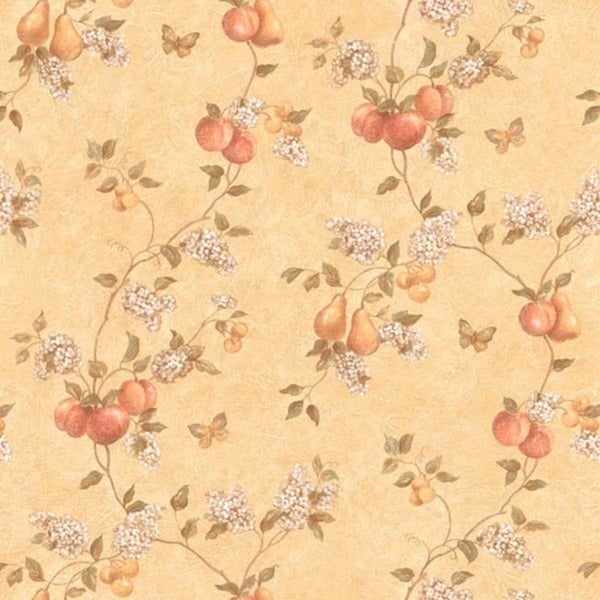 Peach Fruit and Flower Vine Wallpaper