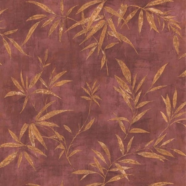 Merlot Palm Leaves Wallpaper