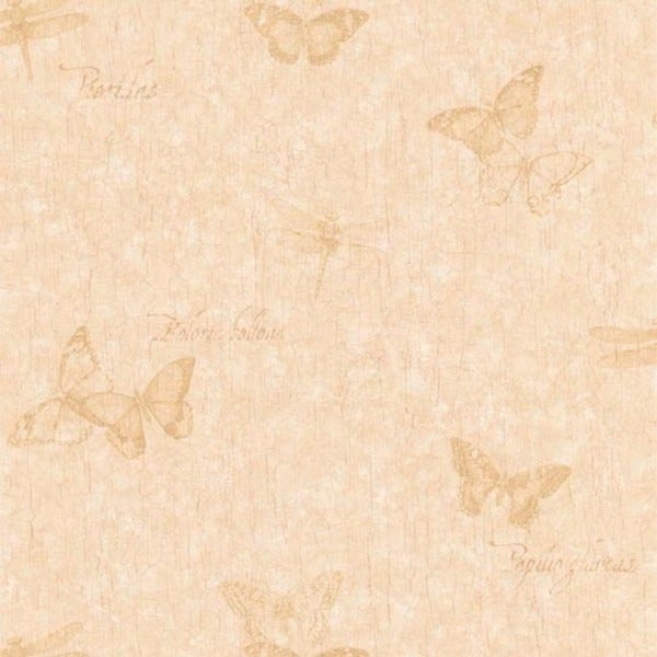 Beige Vintage Butterfly Wallpaper