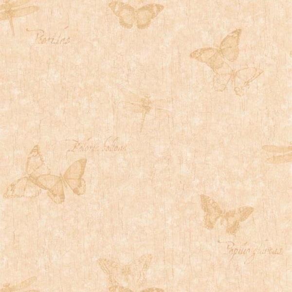 Beige Vintage Butterfly Wallpaper