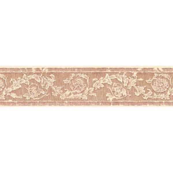 Red Decorative Scroll Wallpaper Border