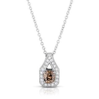 Eloquence 18k White Gold 1 3/8ct TDW Cognac Diamond Halo Pendant (Fancy Brown, I1-I2)