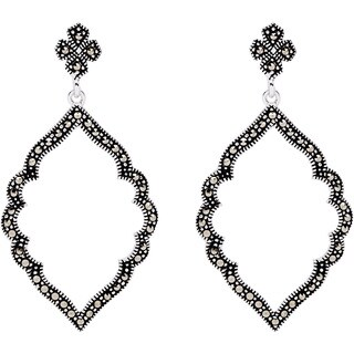 Silverplated Marcasite Open Marquise Dangle Earrings